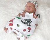 Organic Baby Blanket - Forest Friends Woodland Animals Fox, Raccoon, Hedgehog, Deer, Owl, Acorn Eco Friendly Swaddle