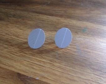 vintage clip on earrings blue metal