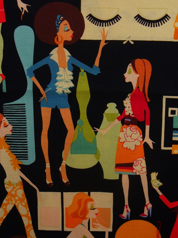 for khananna / Cover Girl by Alexander Henry / 1960's  Mod Women / Retro Styles / OOP / Half Yard / Last One!
