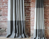 "84""L - Martha Panel - custom curtains - 28 color options - striped panels - color block panels"