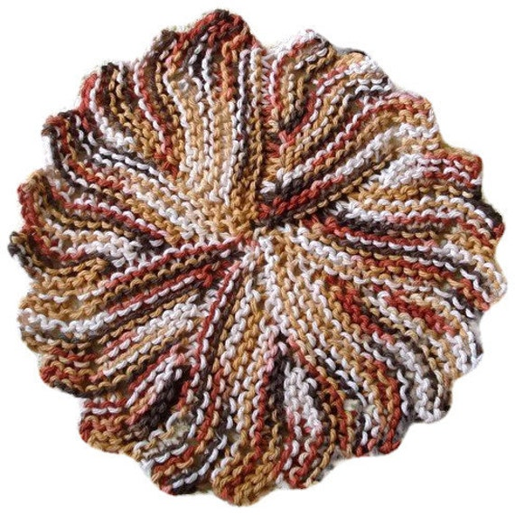 Items similar to Knit Dishcloth Washcloth Brown Variegated Cotton Yarn Ready ...