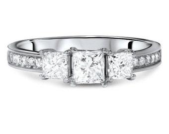 Diamond 1.00CT Three Stone Princess Cut Engagement Ring 14K White Gold