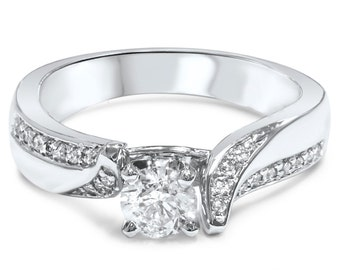 Diamond Engagement Ring Twist Pave Style .70CT 14K White Gold Size 4-9