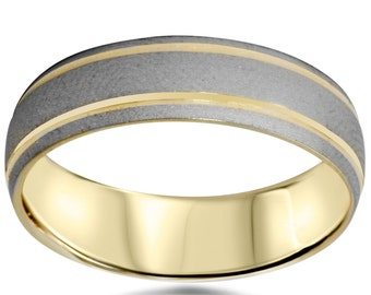 14K Gold 6MM Mens Two Tone Wedding Band Brushed Dome Shape Size 7-12