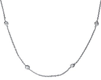 """1.00CT Diamonds By The Yard 14K White Gold 18"""" Womens Necklace Chain Lobster Clasp G-H/I1-2, Diamonds By The Yard, Womens Necklace,For Her"""