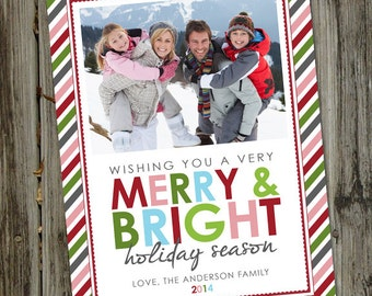 Merry Bright Stripes, Holiday Photo Card, Christmas Photo Cards PRINTABLE, Christmas Photo Cards Digital, Christmas Photo Card Download