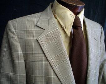 70s 42L Stanley Blacker Fine Wool Plaid Men's Sports Coat Jacket Brown