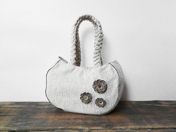 50 % off SALE - Vegan ivory Handbag with Leather flowers suede leather faux leather small bag