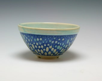 Small Serving Bowl in Royal Blue and Sea Green Ceramic Bowl with hand carved Texture/Ceramics and Pottery