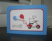 Westie Birthday Card, Westie on a Scooter