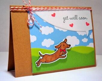 Get Well Card, Feel Better Soon Card, Dog Lover, Dachshund Card
