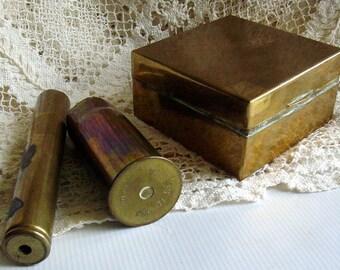Antique Cigarette Box and Shells Brass World War I Memorabilia Historical Antique Containers