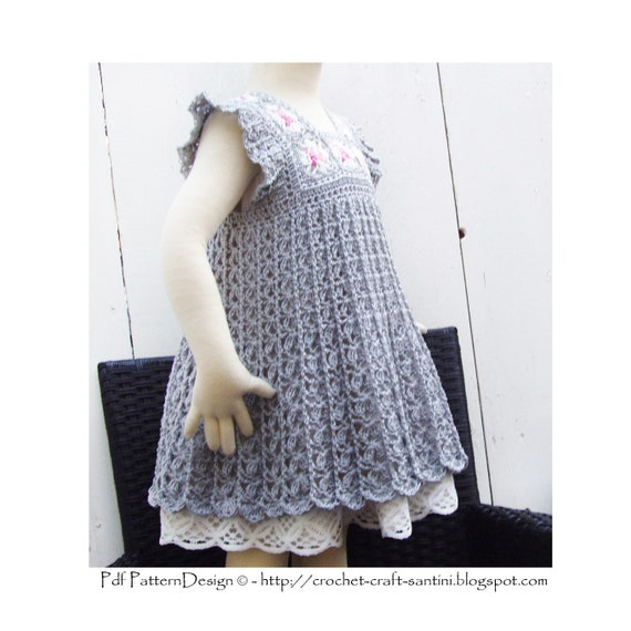 Crochet Granny Square Dress Patterns : Grey Granny Square Crochet Dress Pattern by PdfPatternDesign