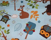 Riley Blake Hooty Hoot Cotton Fabric in Blue-  by Doohikey Designs. 100% cotton -  Baby blanket-crib sheets-bibs, curtains