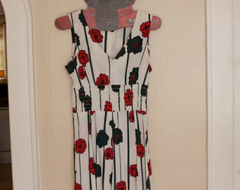 Red,green, and white 60s vintage dress