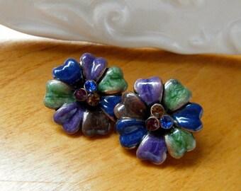 Vintage Floral Earrings, Vintage Pierced earrings, Enameled Floral Earrings