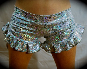 Unicorn Skin, Shattered Glass, Sparkle, Glitter Ruffle, Side Synch, Ruffle Shorts, Bloomers, Spandex Shorts
