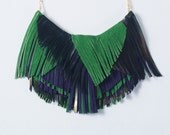 Peacock Queen Leather Fringe Necklace