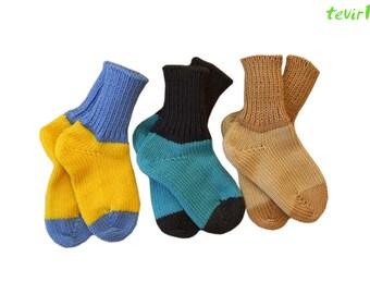 Socks 1 - 36 months   100% merino wool newborn baby boy girl knit knitted hand made leg warmers organic