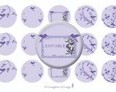 Purple Watercolor Hummingbird 1 Inch Editable Circle Bottle Cap Images INSTANT DOWNLOAD LLMMKG01