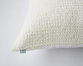 White knitted pillow cover Pure linen pillows
