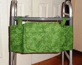 Durable Cotton Walker Tote - Green Leaf Design, Multiple Pockets with Velcro Straps and Closure