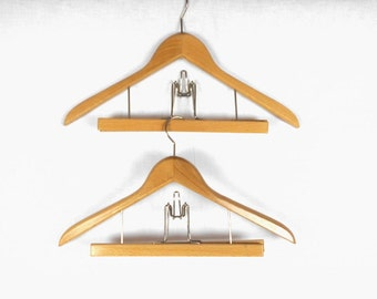 Vintage Suit Hangers Angled Wooden Yugoslavia Set of Two