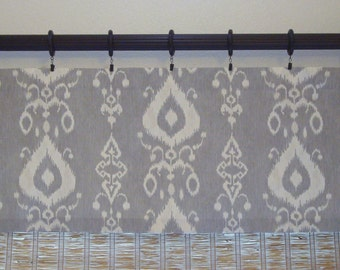 Modern Ikat Tullahoma Valance Kitchen Curtain Custom Valance 52x14 52x16 52x18