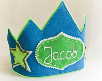 Personalized Birthday Party Felt Crown- Blue, Green Star Design, Photo Prop