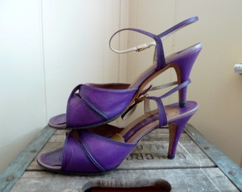 Vintage Violet Purple Strappy Heels, Marty Fuerst - Detroit, 1970s-80s, Made in Spain