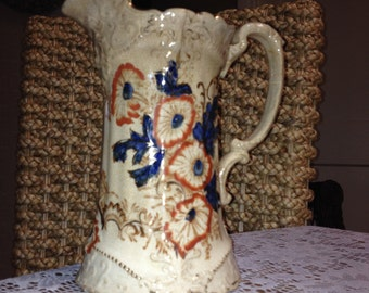 Vintage Ecru And Blue Floral Pitcher