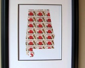Alabama recycled postage stamp map