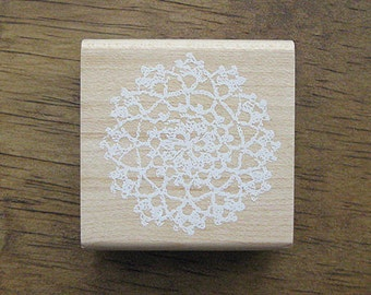 Lace Rubber Stamp, Lace Stamp - Round