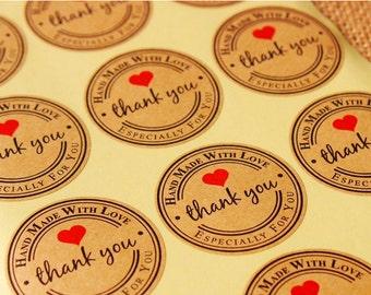 Kraft Handmade Stickers, Kraft Thank You Sticker, Set of 12