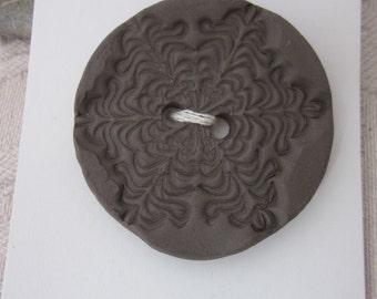 Large Black Snowflake Pattern Ceramic Button