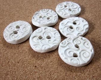 6 Spiral Textured Earthenware Buttons