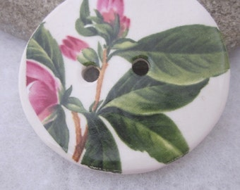 Large Pink Rhododendron Bud Ceramic Button