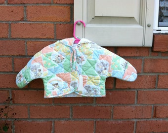 Folk Holly Hobbie Quilted Hooded Baby Bunting Coat