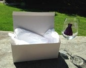 Gift box for wine, flutes, personalized glasses, includes tissue paper. Crisp white box. Ships free with glass purchase.