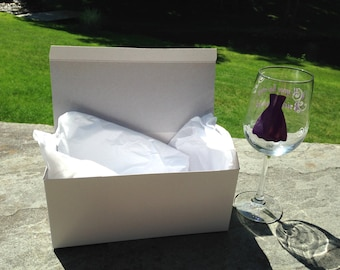 Gift box for wine, flutes, personalized glasses, with tissue paper. Crisp white box. Ships free with glass purchase. Wedding gift box RTS
