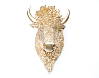 Faux Taxidermy -  Gold Bison Head Wall Mount - Faux Taxidermy BIH08
