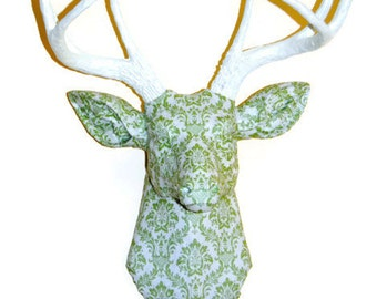 Deer Head Wall Mount - Green and Ivory Damask Fabric - Deer Faux Taxidermy - FAD0101