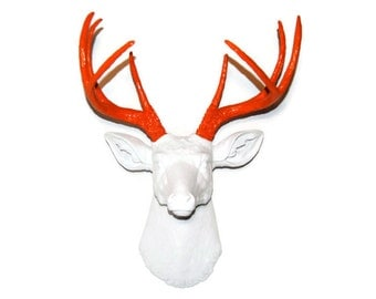 White and Fire Orange Fake Deer Head Wall Mount - Near and Deer D0122