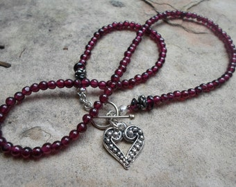 Beautiful Garnet with Heart Necklace