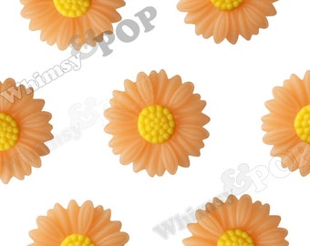 27mm - Large Matte Peachy Orange Daisy Sunflower Resin Cabochons, Daisy Cabochons, Flower Cabochons, Sunflower Cabochons (R6-045)