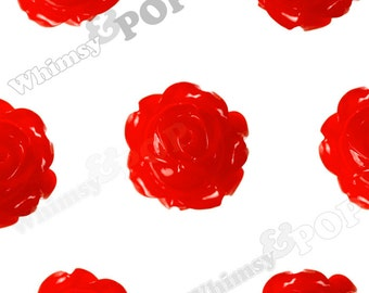 Vintage Deco Cherry Red Rose Bud Resin Cabochons, Flower Cabochons, Flower Cabs, Rose Cabochons, Flatback Roses,15mm x 8mm (R1-104)