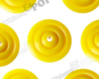 20mm - 10 PACK of Yellow Disc Spacer Beads, Opaque Acrylic Round Beads , 20mm x 7mm, 2mm Hole (R3-168)