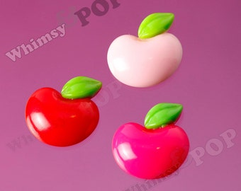 5 - Juicy Apples in Red Pink Resin Decoden Kawaii Foodie Flatback Cabochons, Apple Cabochons, 24mm x 26mm (R6-085)
