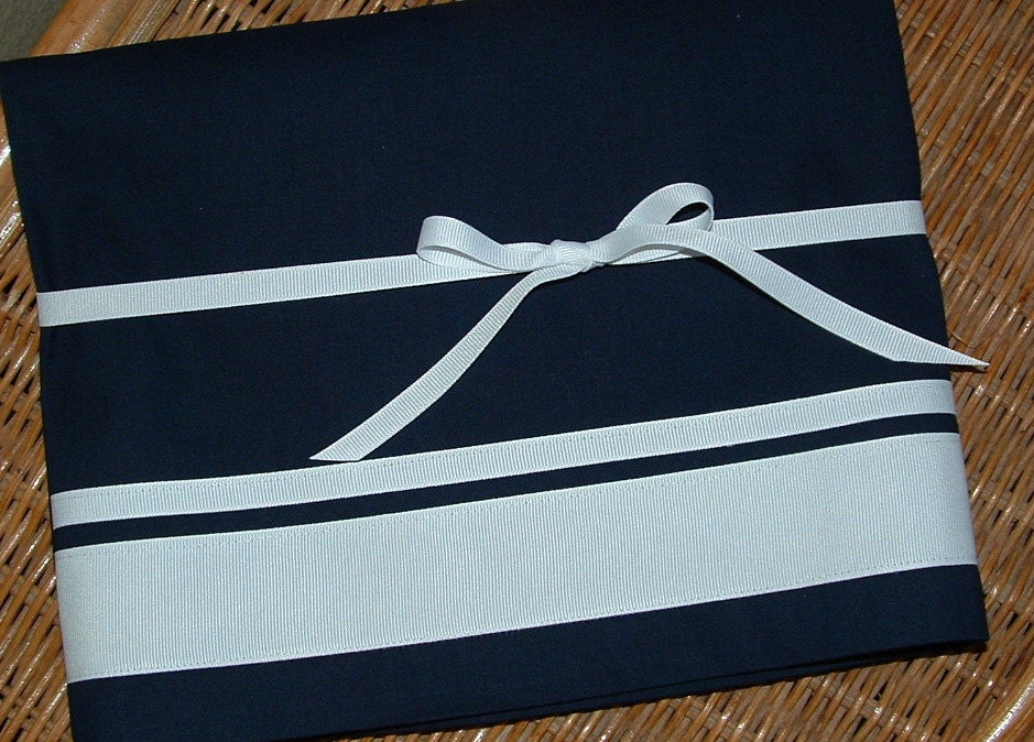 Valance Navy Cotton 40 X 16 With Ribbon White Ribbon Trim