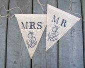 Mr. and Mrs. Chair Banner, Nautical Wedding Chair banners, Anchor Chair Banner